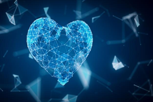 Het digitale hartpictogram wordt gevormd door deeltjes in een netwerkwolk van lijnen en punten. het hart van technologie 3d illustratie
