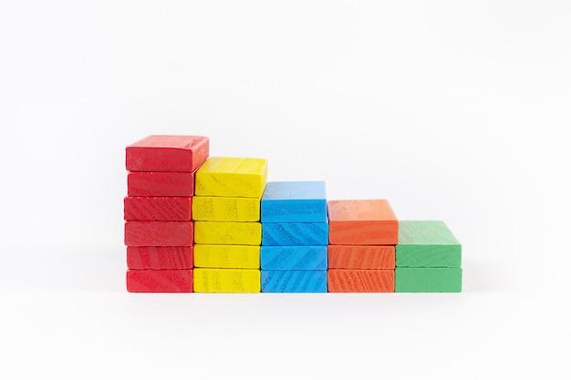 Het domino-kleuren dichte omhooggaande beeld op witte achtergrond.