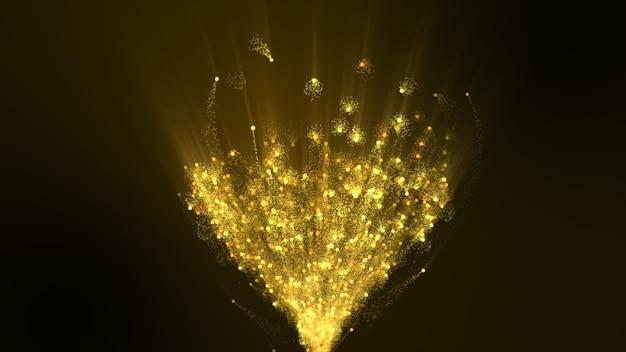 Het donkere bruin ervoor is een goudgeel vuurwerk.