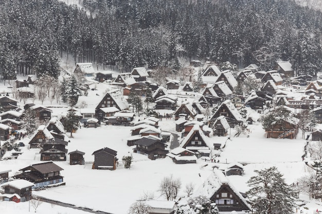 Het dorp van shirakawago met sneeuwdaling van wintertijd