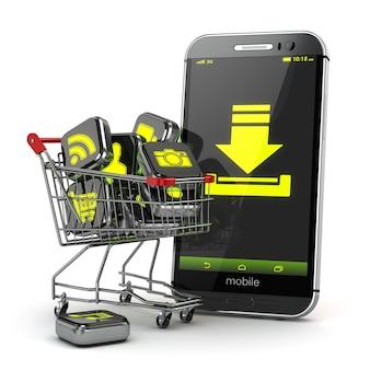 Het downloaden van mobiele apps-concept. toepassingssoftwarepictogrammen in winkelwagen en smartphone. 3d