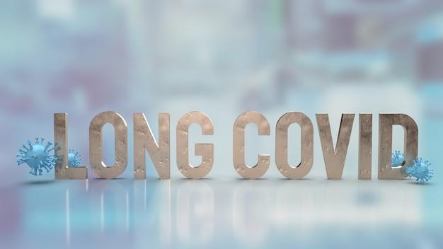 Het duidelijke virus en woord lang covid voor medische of sci concept 3d-rendering