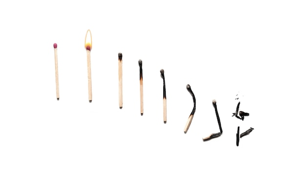 Het effect van branden op lucifers die eruit zien als een dalende grafiek