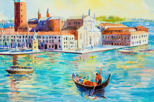 Het eiland van san giorgio maggiore, venetië, italië. aquarel schilderij