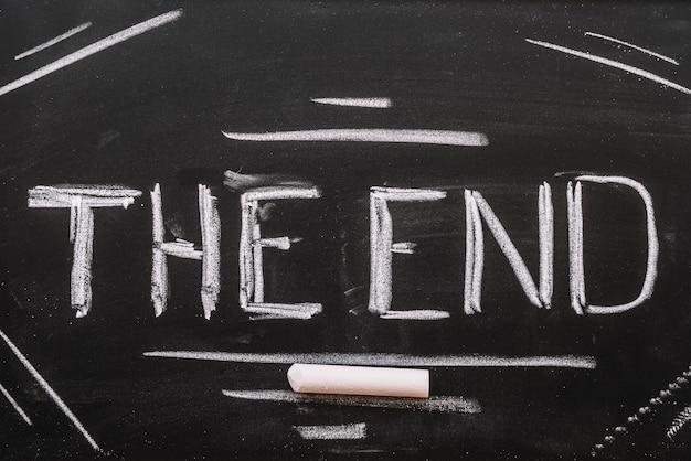 Het einde van letters op een schoolbord