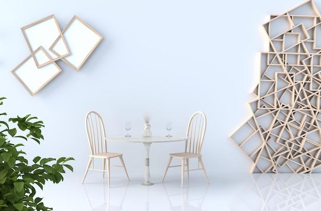 Het eten van witte kamer decor met planken muur, tegelvloer, fotolijst, stoel, gras wijn, boom, tak. 3d render. de zon schijnt door het raam in de schaduw.