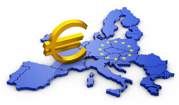 Het eurosymbool op de eu-kaart. 3d-rendering.