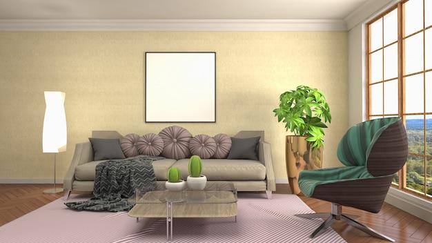 Het frame van de illustratieaffiche op binnenlandse achtergrond