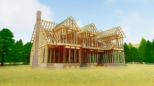 Het frame van een houten huis op een betonnen fundering met een open haard en een schoorsteen.