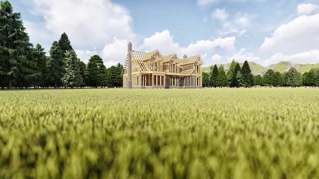 Het frame van een houten huis op een betonnen fundering met een open haard en een schoorsteen