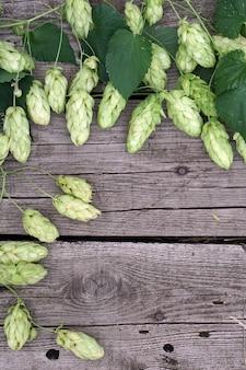 Het frame van hoptakjes over houten gebarsten lijstachtergrond. vintage afgezwakt. bier ingrediënten.