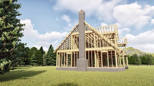 Het frame van houten huis op betonnen fundering met open haard en schoorsteen