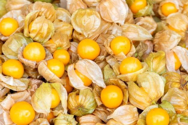 Het fruit van de kaapkruisbes, physalis-peruvianafruit in markt