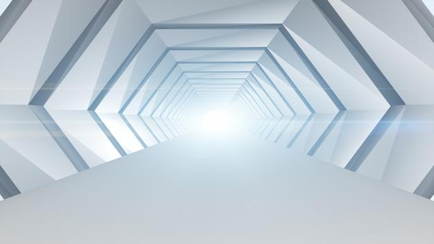 Het futuristische concept van de tunnel abstracte geometrische architectuur.