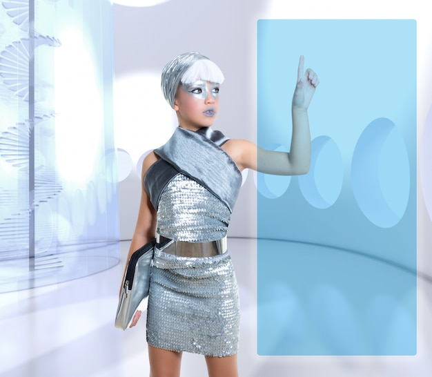 Het futuristische scherm van de de aanrakingsvinger van het kinderenmeisje scherm