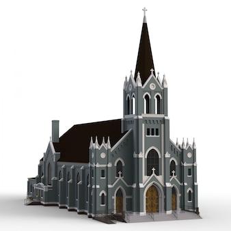 Het gebouw van de katholieke kerk, uitzicht van verschillende kanten. driedimensionale illustratie op een witte achtergrond. 3d-weergave