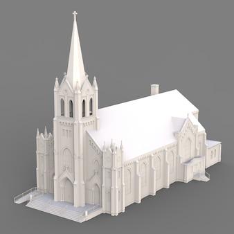 Het gebouw van de katholieke kerk, uitzicht van verschillende kanten. driedimensionale witte illustratie op een grijs oppervlak