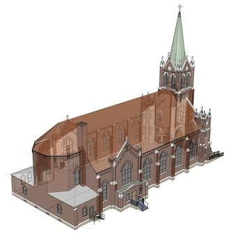 Het gebouw van de katholieke kerk, uitzicht vanaf verschillende kanten. driedimensionale afbeelding op een witte achtergrond. 3d-rendering.