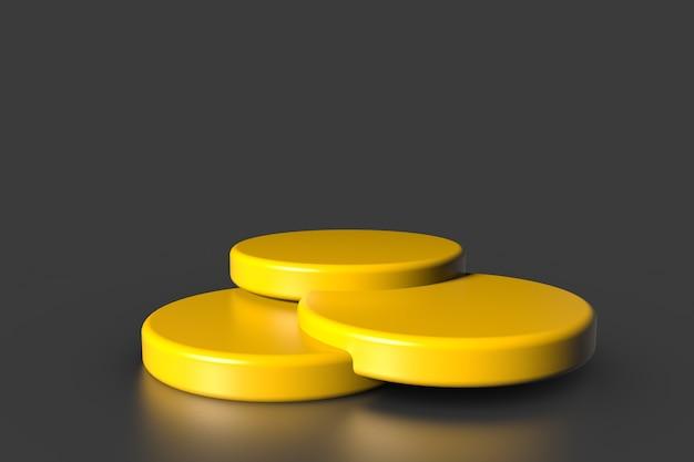 Het gele voetstuk van de productvitrine staat op grijze achtergrond. abstract minimaal concept. studio podium platform thema.