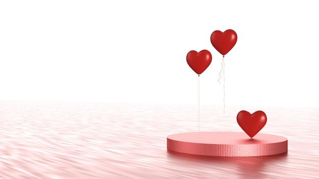 Het gelukkige concept van de valentijnskaartendag met de rode ballon van de hartvorm op producttribune. valentijnsdag evenemententhema. 3d illustratie weergave
