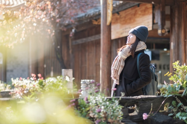 Het gelukkige jonge vrouwenreiziger reizen