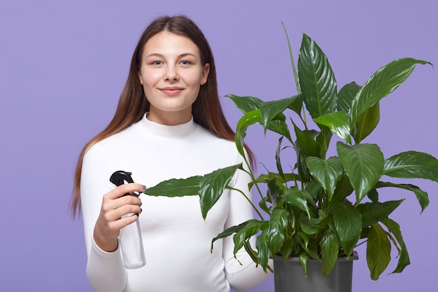 Het gelukkige kaukasische vrouw of huisvrouwen houseplant bespuiten met waterspuitbus thuis