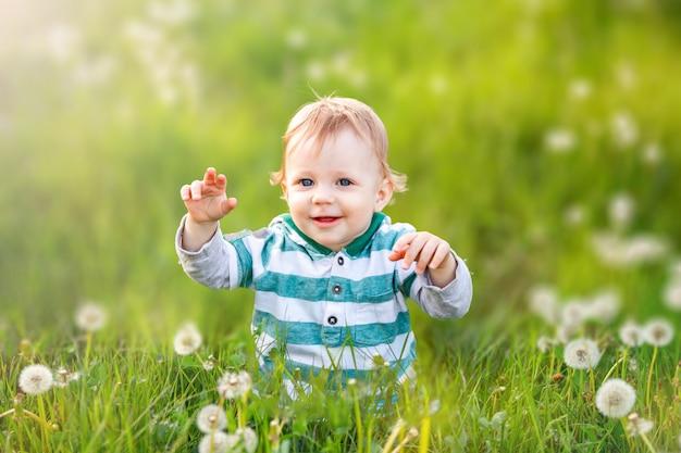 Het gelukkige kind glimlacht op groen gebied van paardebloemen onbezorgde kinderjaren