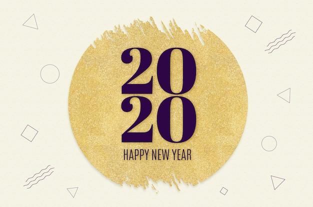 Het gelukkige nieuwe jaar 2020 woord op gouden cirkel schittert op patroon van de room het moderne geometrische vorm
