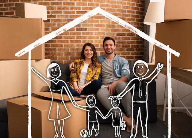 Het gelukkige paar wil een gezin hebben in een nieuw huis. concept van succes, verandering, positiviteit en toekomst