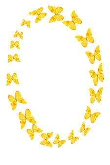 Het getal nul van gele tropische vlinders geïsoleerd op een witte achtergrond
