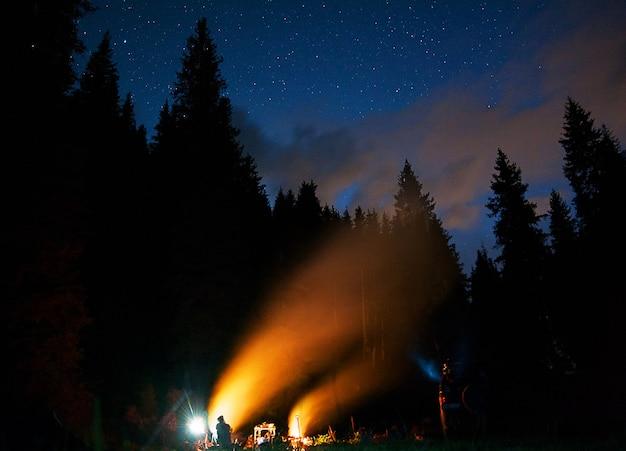 Het gezelschap van jonge mensen zit rond het vuur en zingt liedjes.