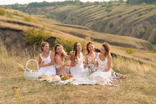 Het gezelschap van prachtige vrienden die plezier hebben, wijn drinken en genieten van een picknick in het heuvellandschap