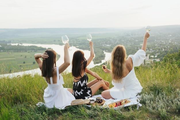 Het gezelschap van prachtige vriendinnen die plezier hebben en wijn drinken, en genieten van een picknick in het heuvelslandschap.