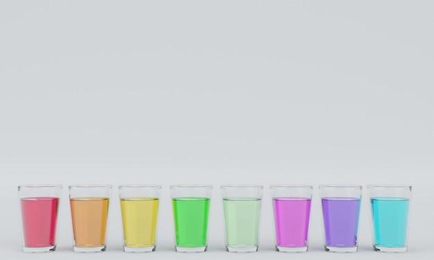 Het glas water in het water komt in vele kleuren, witte achtergrond 3d-rendering