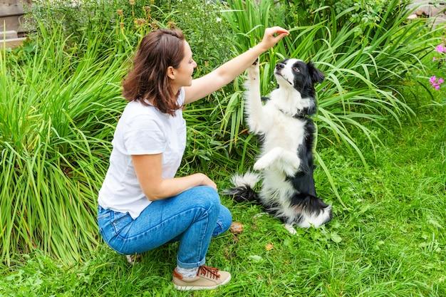 Het glimlachen het jonge aantrekkelijke vrouw spelen met leuk border collie in de zomertuin