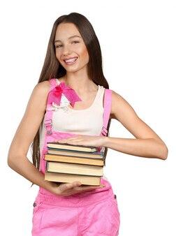 Het glimlachen van de stapel van de vrouwenholding boeken