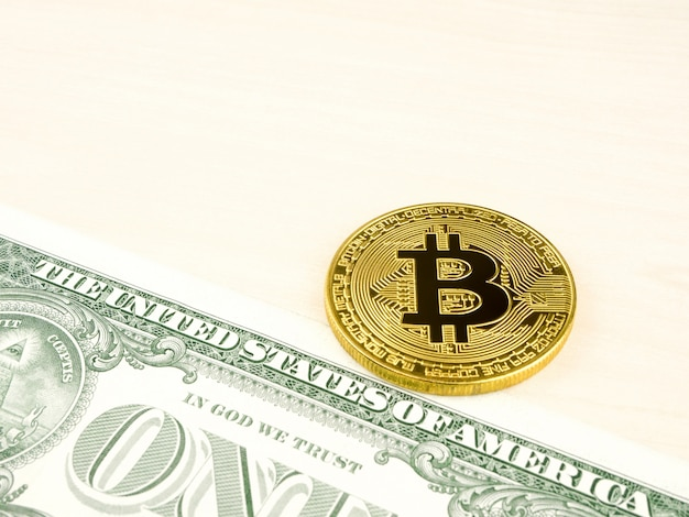 Het gouden bitcoinmuntstuk op ons dollars sluit omhoog.