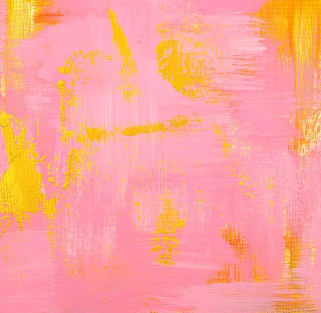 Het gouden en roze acryl schilderen van het pastelkleurelement op canvas abstracte textuurachtergrond