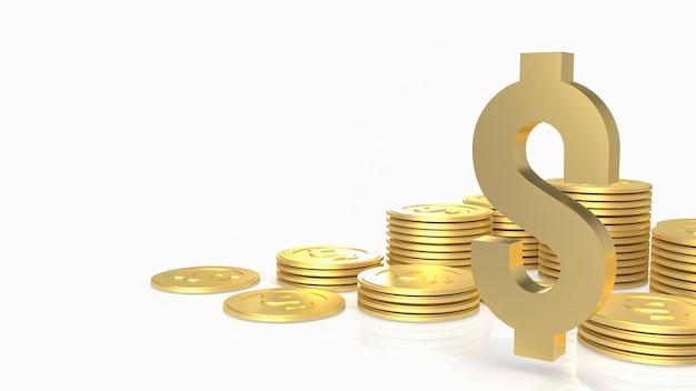 Het gouden gouden dollarsymbool en de muntstukken op witte 3d-rendering als achtergrond