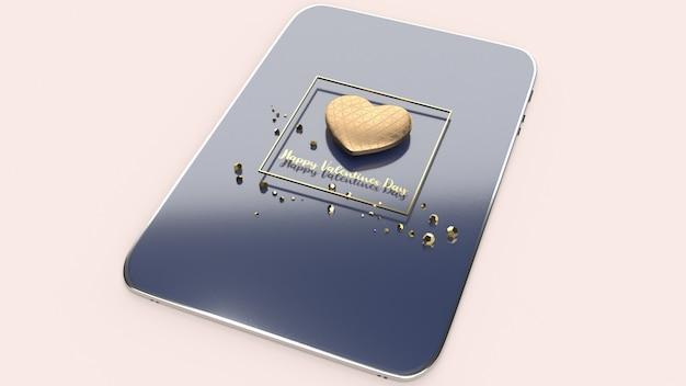Het gouden hart 3d teruggeven voor valentijnskaartendag.
