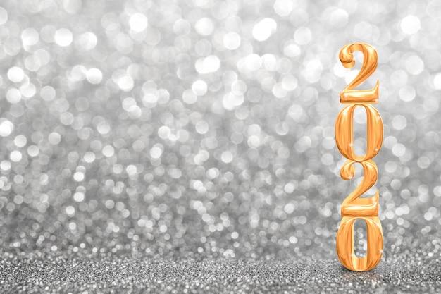 Het gouden nieuwe de jaar 3d teruggeven van 2020 bij abstract fonkelend helder zilver schitter perspectief, de achtergrond van de groetkaart
