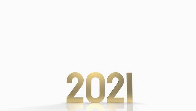 Het gouden nummer 2021 voor 3d-weergave van de inhoud van het nieuwe jaar.