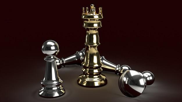 Het gouden schaak van kong en zilveren pand op donkere toon, het 3d teruggeven.