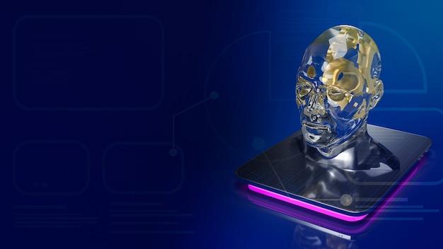 Het gouden tandwiel in de menselijke kristallen kop voor ai of machine learning voor 3d-rendering van het technologieconcept