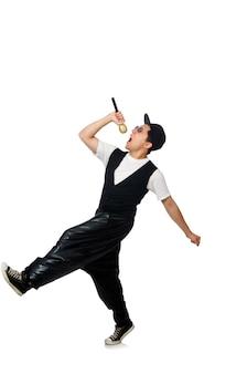 Het grappige jonge mens dansen geïsoleerd op wit