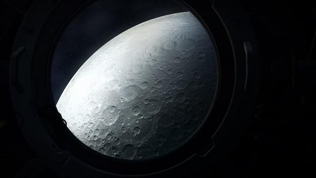 Het grijze oppervlak van de maan vanuit de patrijspoort van een ruimtevaartuig