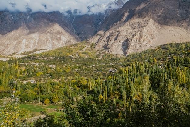 Het groene bos met wolken en sneeuw dekte bergen in hunza-vallei, pakistan af.