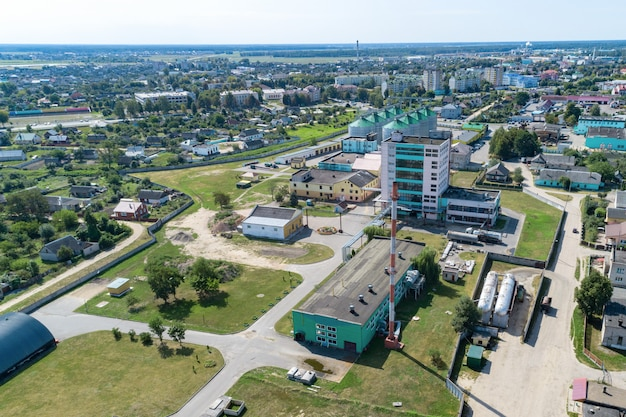 Het grondgebied van een industrieel bedrijf. uitzicht van boven