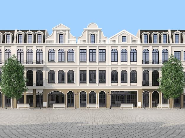 Het grote lege plein met de klassieke 3d de bouwachtergrond geeft terug.
