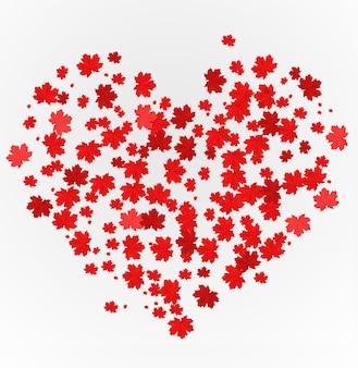 Het hart is gemaakt van rode esdoorn bladeren. concept voor valentijnsdag